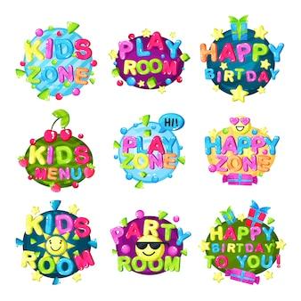Zestaw logo strefy dla dzieci, jasny kolorowy emblemat dla dziecięcego placu zabaw, pokój zabaw dla dzieci, obszar gry i zabawy ilustracja na białym tle
