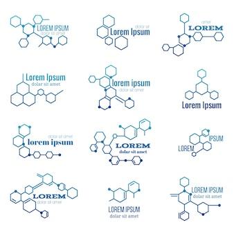 Zestaw logo struktury cząsteczki