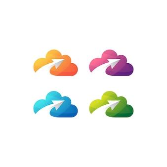 Zestaw logo strzałka chmura