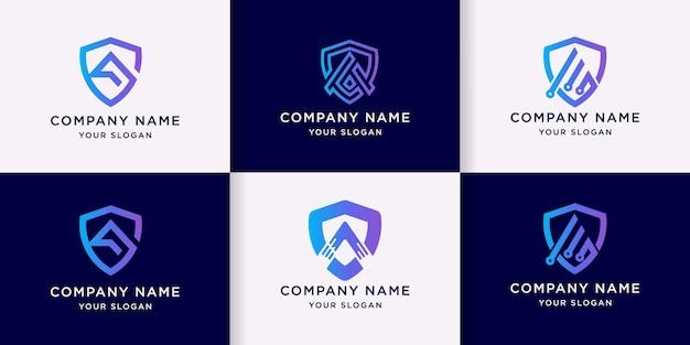 Zestaw logo strzałki tarczy, logo litery a tarczy