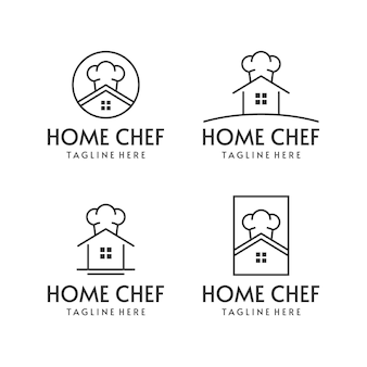 Zestaw logo szefa kuchni w stylu mono-line