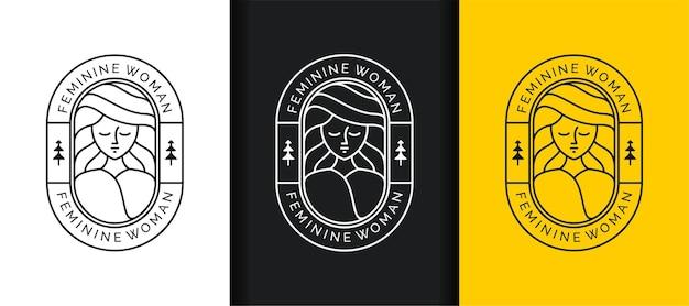 Zestaw logo sztuki linii piękna twarzy