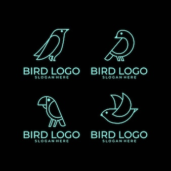 Zestaw logo sztuki linii ptak