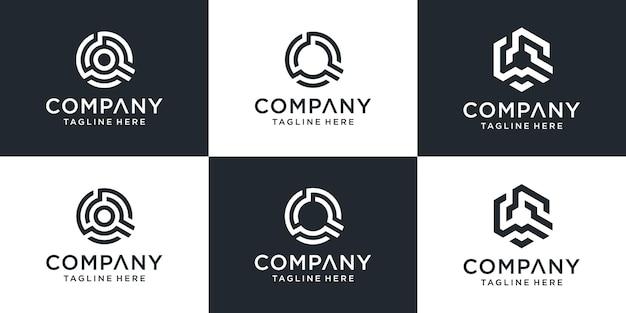 Zestaw logo technologii kreatywnych streszczenie litera q.
