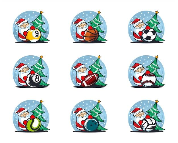 Zestaw logo tematu boże narodzenie piłka sportowa