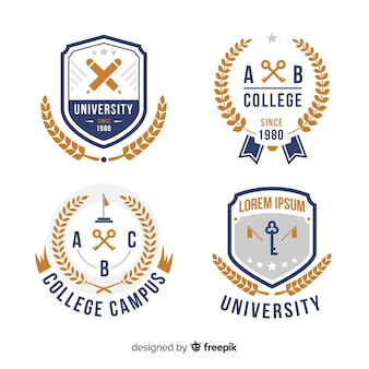 Zestaw logo uniwersytetu w stylu płaski