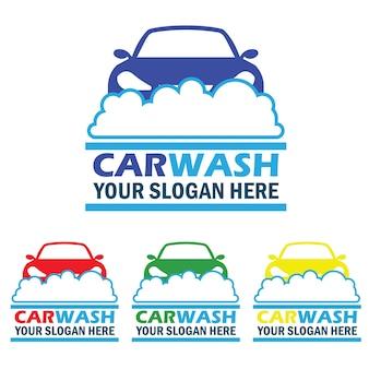 Zestaw logo usług mycia samochodów z miejscem na tekst w twoim sloganie