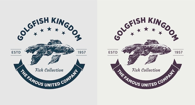 Zestaw logo vintage złota rybka