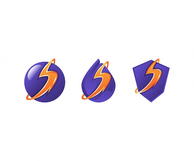 Zestaw logo volt elektryczne