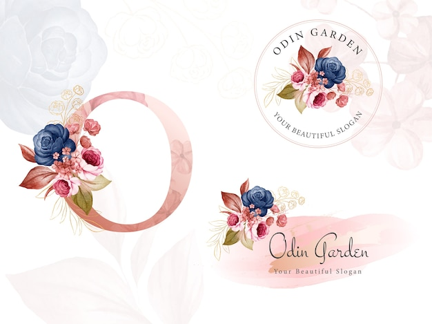 Zestaw logo w kolorze granatowo-brązowym akwareli kwiatowych na początkowe litery o, okrągłe i poziome.