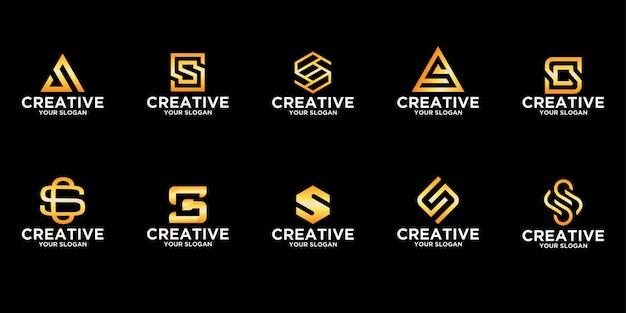 Zestaw logo w połączeniu z szablonem wzorów liter s premium vector