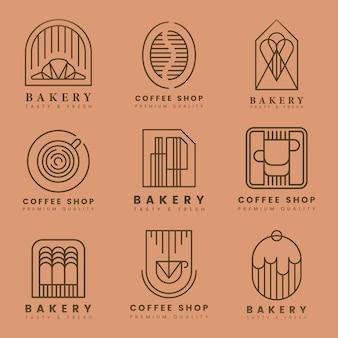 Zestaw logo wektor kawa i ciasto