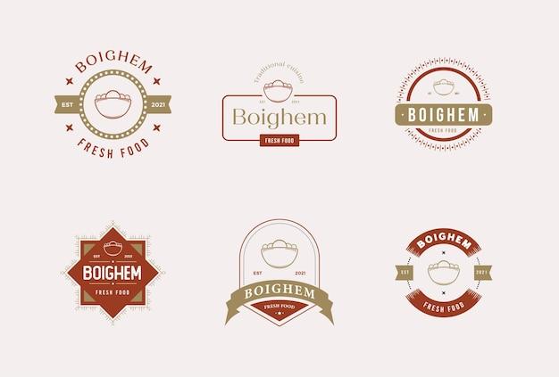 Zestaw logo wektor premium odznaka żywności restauracji