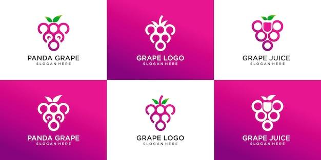 Zestaw logo winogron, winogron panda i sok winogronowy. unikalne, ekskluzywne, eleganckie, profesjonalne, czyste, proste, nowoczesne logo.