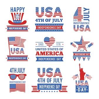 Zestaw logo z okazji dnia niepodległości z 4 lipca.