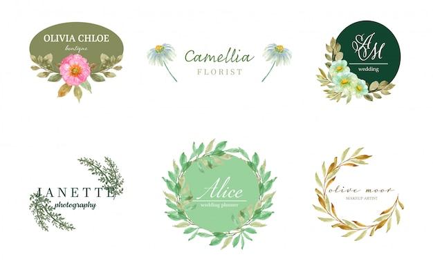 Zestaw logo z pięknymi kwiatami akwarela