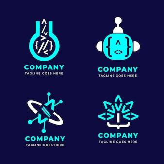 Zestaw logo z płaskim kodem