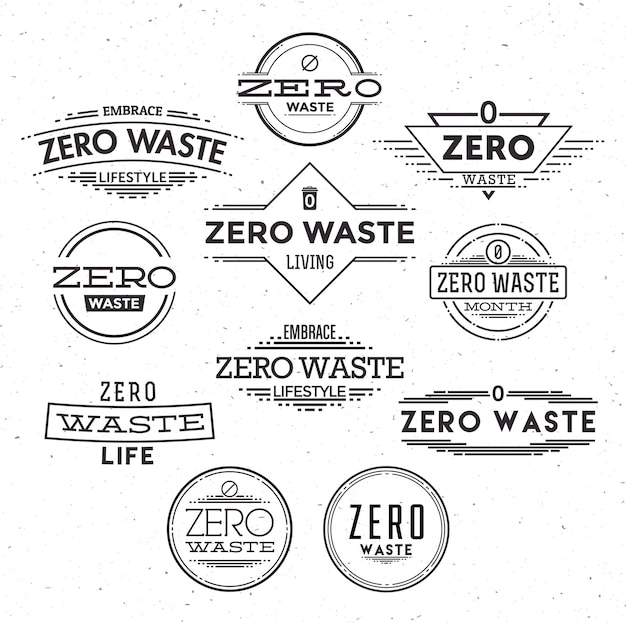 Zestaw logo zero odpadów