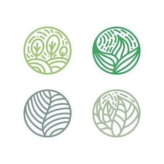 Zestaw logo zielonych liści roślin tropikalnych.