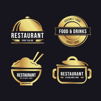 Zestaw logo złotej restauracji retro