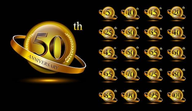 Zestaw logo złotej rocznicy. z pierścieniem i wstążką