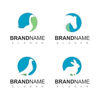 Zestaw logo zwierząt gospodarskich, gęś, królik, gołąb i symbol konia