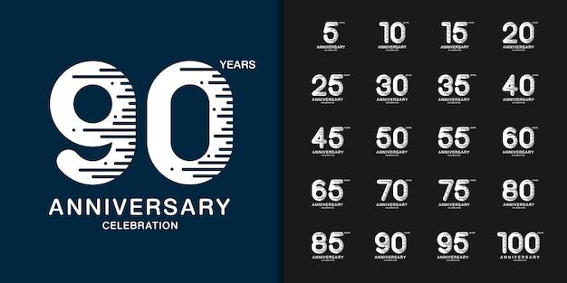 Zestaw logotyp kolorowy celebracja rocznica.