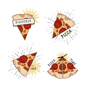 Zestaw logotypów pizzerii. zbiór różnych logo z plasterkami pizzy i napisami