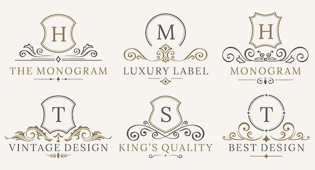 Zestaw logotypów retro royal vintage shields