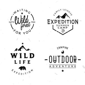 Zestaw logotypów zewnętrznych w stylu vintage