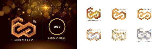 Zestaw logotypu 60-lecia 60-lecia obchodów rocznicy logo 60-lecia hexagon infinity