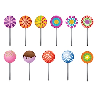 Zestaw lollipop sweet candy stick isolated collection