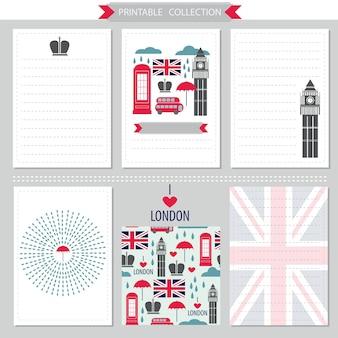 Zestaw londyński wielka brytania wektorowa kolekcja do druku