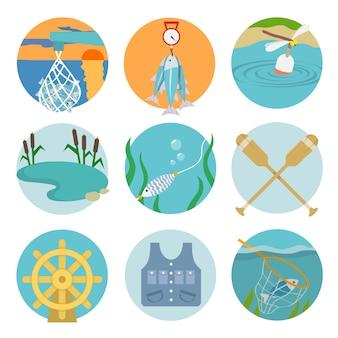 Zestaw łopatek jeziora łapać ikony w płaskim stylu na kolorach koła ilustracji wektorowych