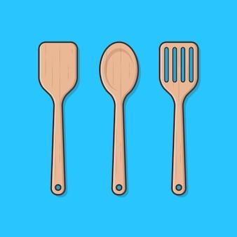 Zestaw łopatki kuchenne drewniane na białym tle na niebiesko