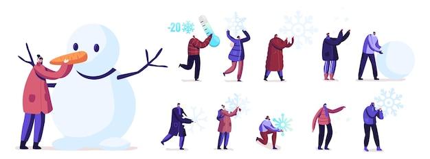 Zestaw ludzi bawiących się śniegiem. małe postacie męskie i żeńskie dokonywanie bałwana, trzymając ogromne płatki śniegu na białym tle. aktywność w sezonie zimowym, zabawa. ilustracja kreskówka wektor