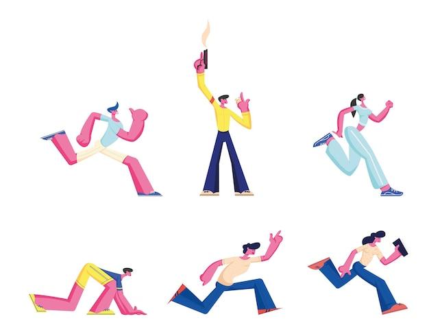 Zestaw ludzi biegających, zawody sportowe run. sportowiec sprinter biegacz sportowcy mężczyzna kobieta postacie maraton bieg sprinterski. ilustracja kreskówka