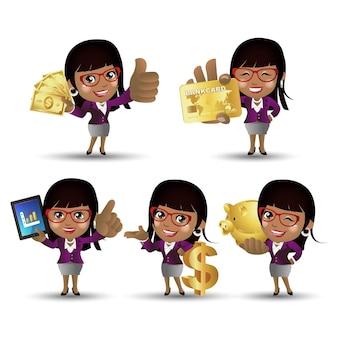 Zestaw ludzi biznes afrykański bizneswoman zestaw