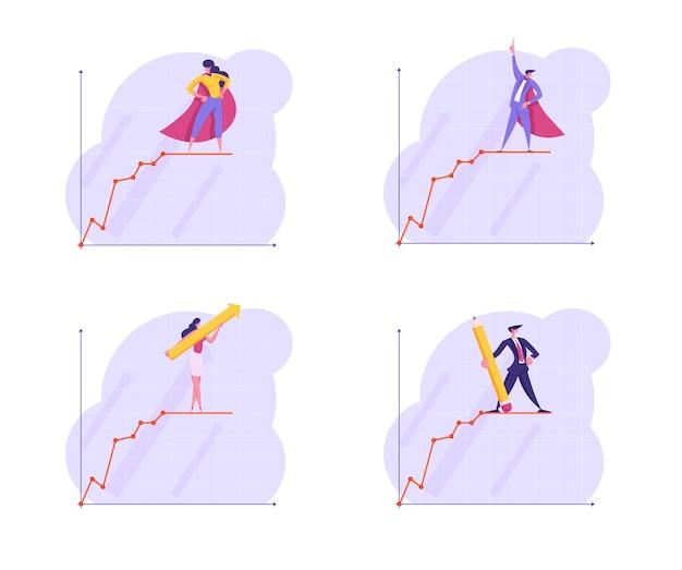 Zestaw ludzi biznesu stoją na szczycie rosnącej linii krzywej wykresu biznesowego