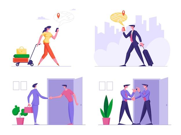 Zestaw ludzi biznesu w orientacji na podróż z nawigatorem gps w obcym mieście