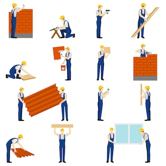 Zestaw ludzi budowniczych
