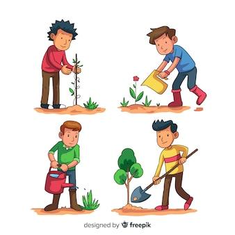 Zestaw ludzi dbających o rośliny