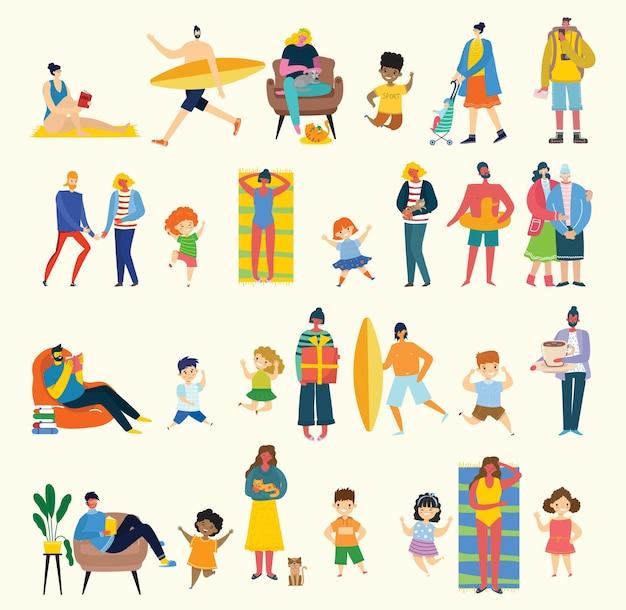 Zestaw ludzi, dzieci, mężczyzn i kobiet z różnymi znakami. obiekty grafiki wektorowej do kolaży i ilustracji. nowoczesny kolorowy styl płaski.
