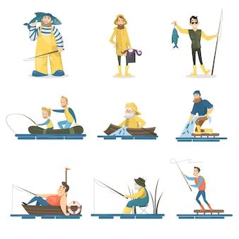 Zestaw ludzi fisher. mężczyźni z dziećmi, łowienie ryb na białym tle.