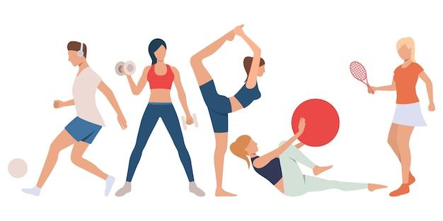 Zestaw ludzi fitness na treningu
