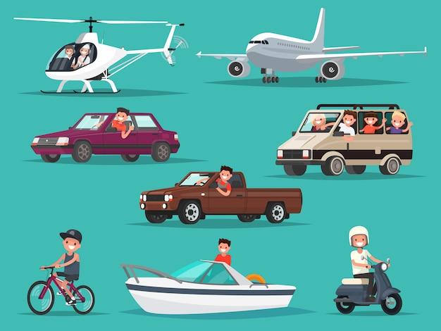 Zestaw ludzi i pojazdów. samoloty, śmigłowce, samochody, motorower, rower, łódź.