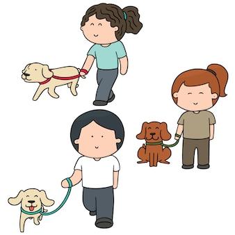 Zestaw ludzi i psów