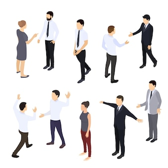 Zestaw ludzi izometryczny. biznesmen i bizneswoman coworking. ilustracja wektorowa