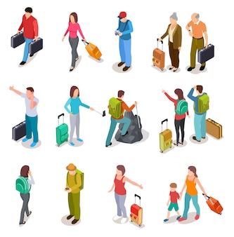 Zestaw ludzi izometryczny podróży. mężczyźni, kobiety i dzieci z bagażem. turystyczna rodzina, pasażerowie i bagaż. kolekcja turystyczna