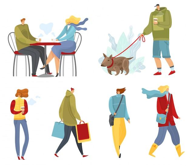 Zestaw ludzi jesieni. zbiór spacerów i ludzi chodzących w porze jesiennej na białym tle obiektów